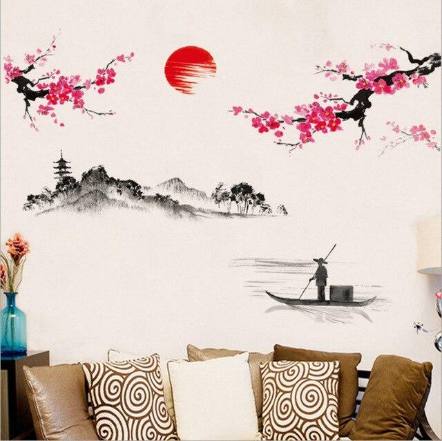 중국 스타일 사쿠라 일본어 핑크 벚꽃 나무 장식 벽 스티커 장식