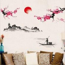 Chiński styl Sakura japoński różowy kwiat wiśni dekor w kształcie drzewa naklejka do wystroju