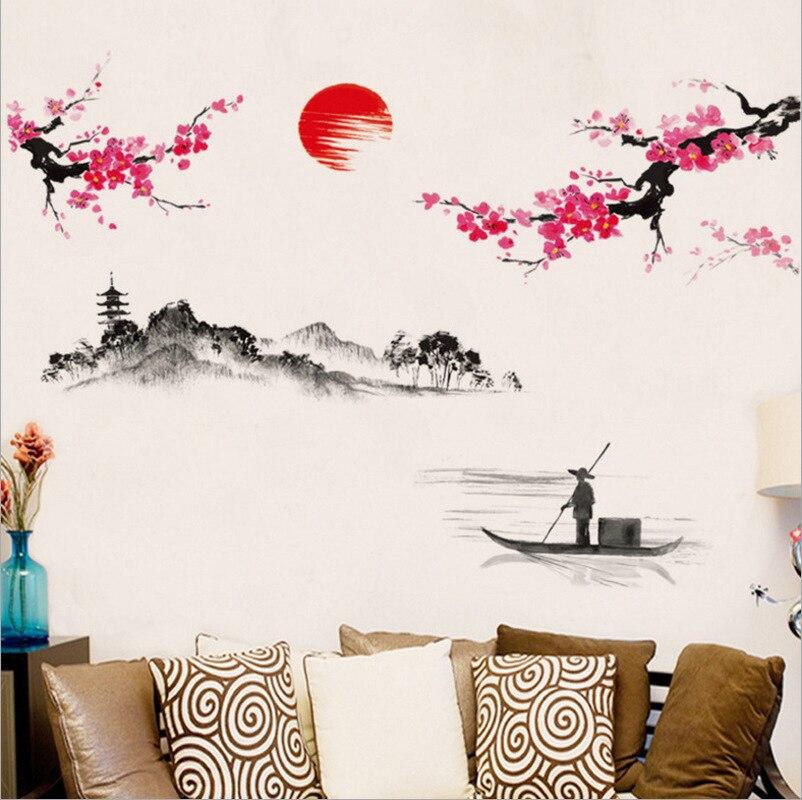 Chinese Style Sakura Japanese Pink Cherry Blossom Tree Decor Wall Sticker Decor