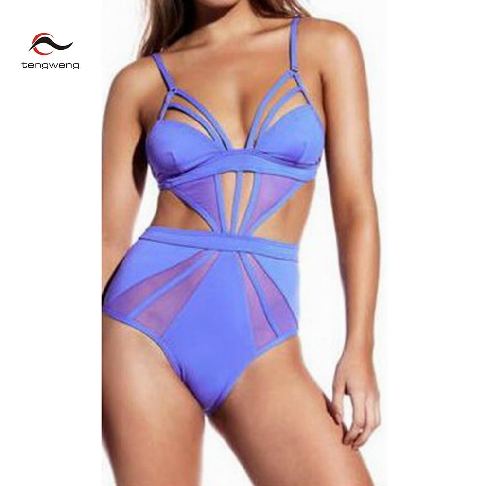 2017 New Women Sexy Solid Mesh One Piece Swimsuit High Waist Monokini Cutout Swimwear Brazilian Hollow Out Bodysuit BathingSuit