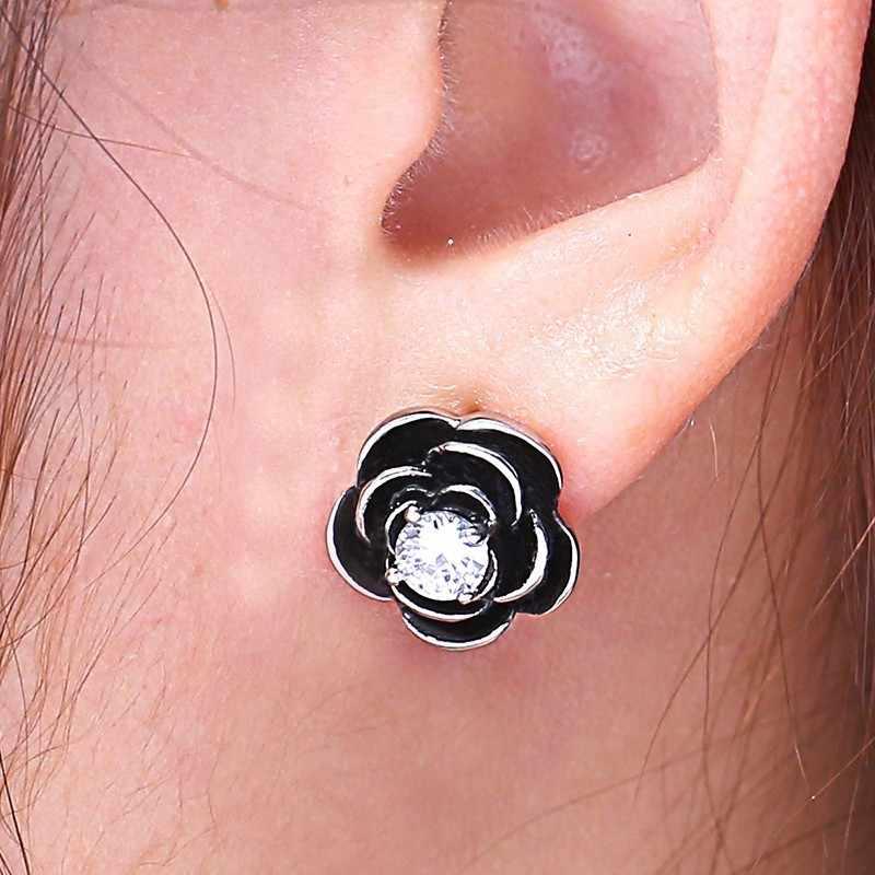 RIR Simple ดอกไม้ต่างหูสีดำสแตนเลสสตีลเงินโรงงานแฟชั่น Charm ผู้หญิงเครื่องประดับหมั้นต่างหู