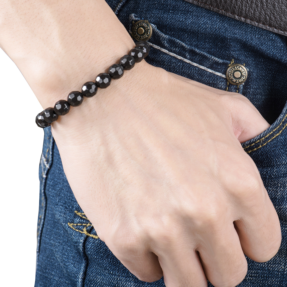 BYRIVER Real Black Tourmaline Beads Health Bracelet, Natural Germanium Stone Bracelet, Negative Ion Energy Hand Chain Men Women