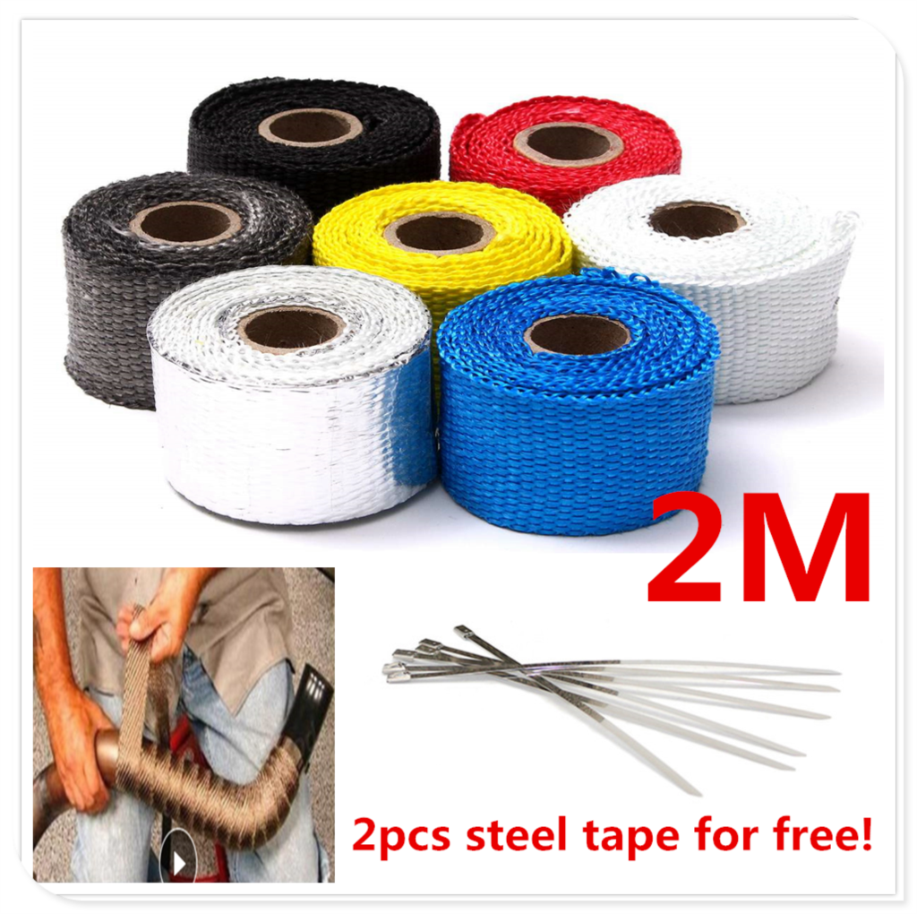 2M Motorcycle <font><b>Exhaust</b></font> Pipe Heat Wrap Shield Tape Glass Fiber FOR BMW R1200RT SE R1200S R1200ST <font><b>S1000R</b></font> <font><b>S1000R</b></font> S1000RR image