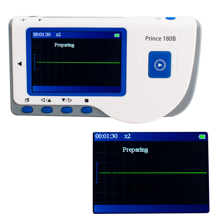 2017 Hot Sale Prince 180B Handheld ECG EKG Portable Monitor Electrocardiogram LCD heal force prince 180b blue color portable heart ecg monitor electrocardiogram contain ecg lead wire