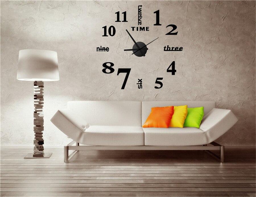 watch wall clock modern math horloge vintage wall wanduhr mirror silent sticker living room quartz klok watch decor for home  (1)