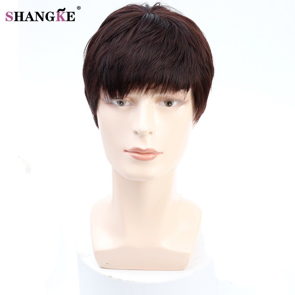 shangke short men wigs for black men natural black hair