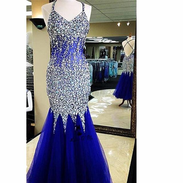 Vestido De Festa Royal Blue Silver Luxury Prom Dresses 2018 Crystals