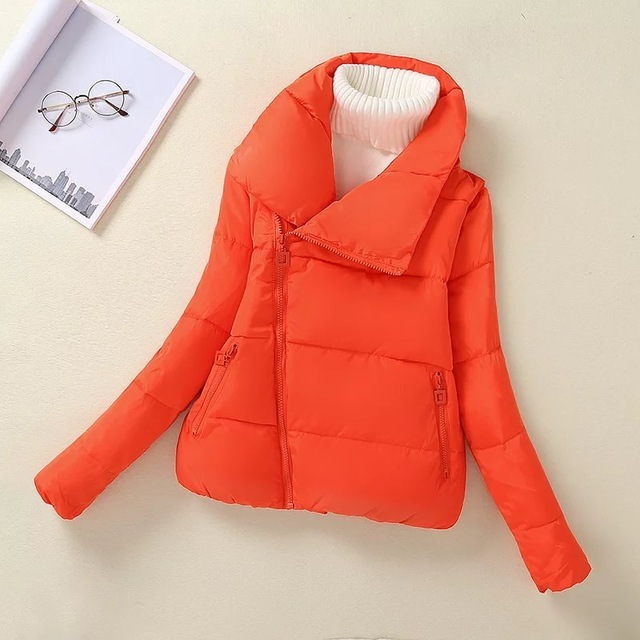 New Fashion Women Orange Pink Black Green Zippers Cotton-padded Jackets Pockets Winter Thick Warm Coats Long Sleeve Cozy Casual