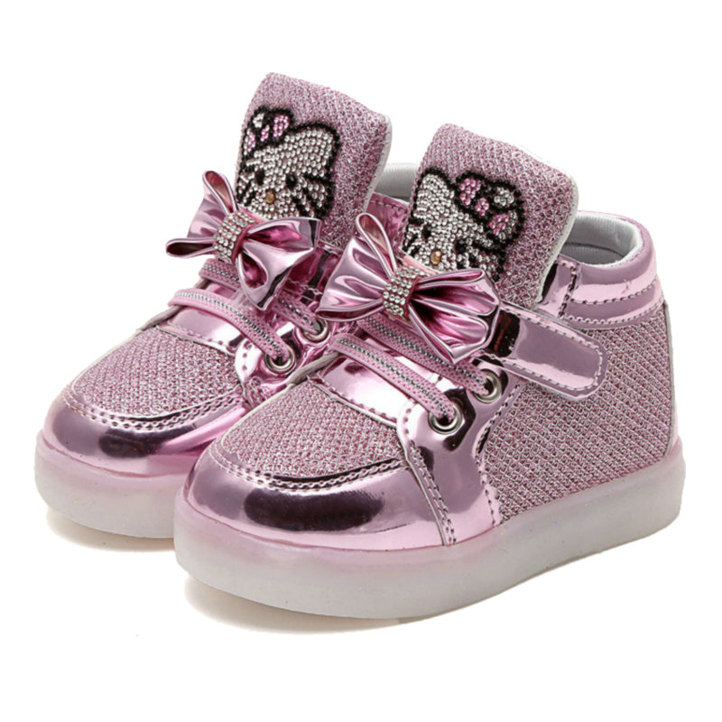 New glowing sneakers Children Cartoon Light Up LED shoes Spring Kids breathable sports shoes girls flashing Sneakers fashion