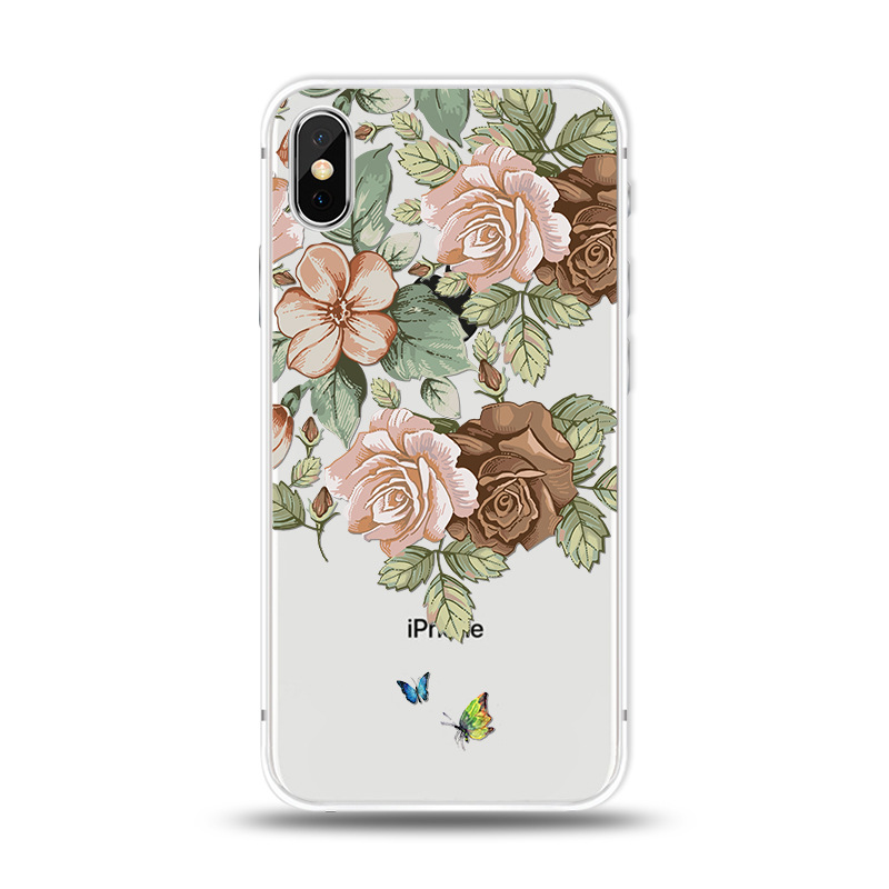 KIPX1027G_1_JONSNOW For iPhone 7 Flowers Pattern Soft Case For iPhone 6 6S 7 8 Plus Clear Back Cover for iPhone 5 5S SE Capa Coque Fundas