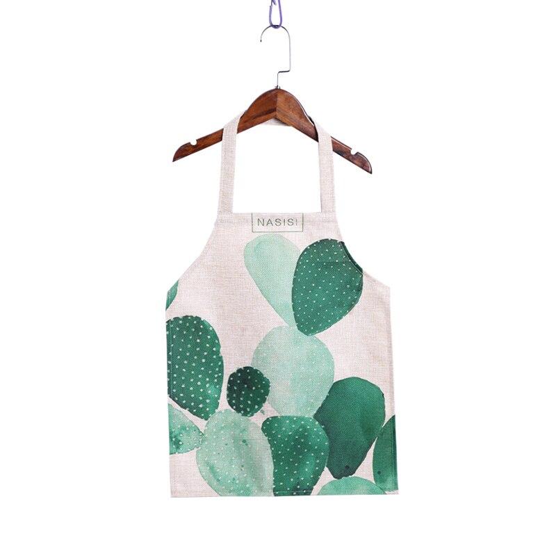 Fashion Cactus Succulent Plants Cactus Linen Convenient Waterproof Sleeveless Apron For Mom Adult Kids Aprons Kitchen Accessory