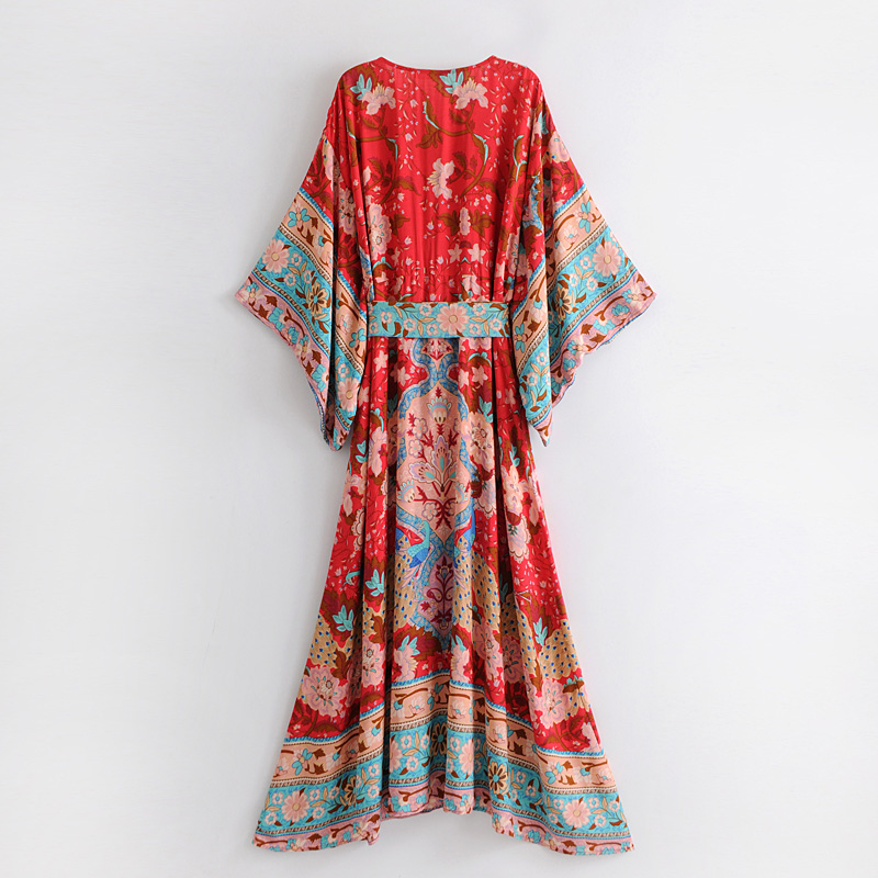 3bc6c5f9aa floral printing kimono dress summer 2018 women boho maxi dress Casual  female vestidos elegant bohemian loose long dress-in Dresses from Women's  Clothing on ...