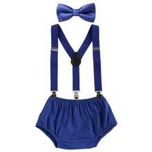 3pcs Baby Boys Outfits Diaper Cover Pants+Clip-on Suspenders Y Back Braces+Bowtie Photography Props Summer Baby Boy Clothes Set