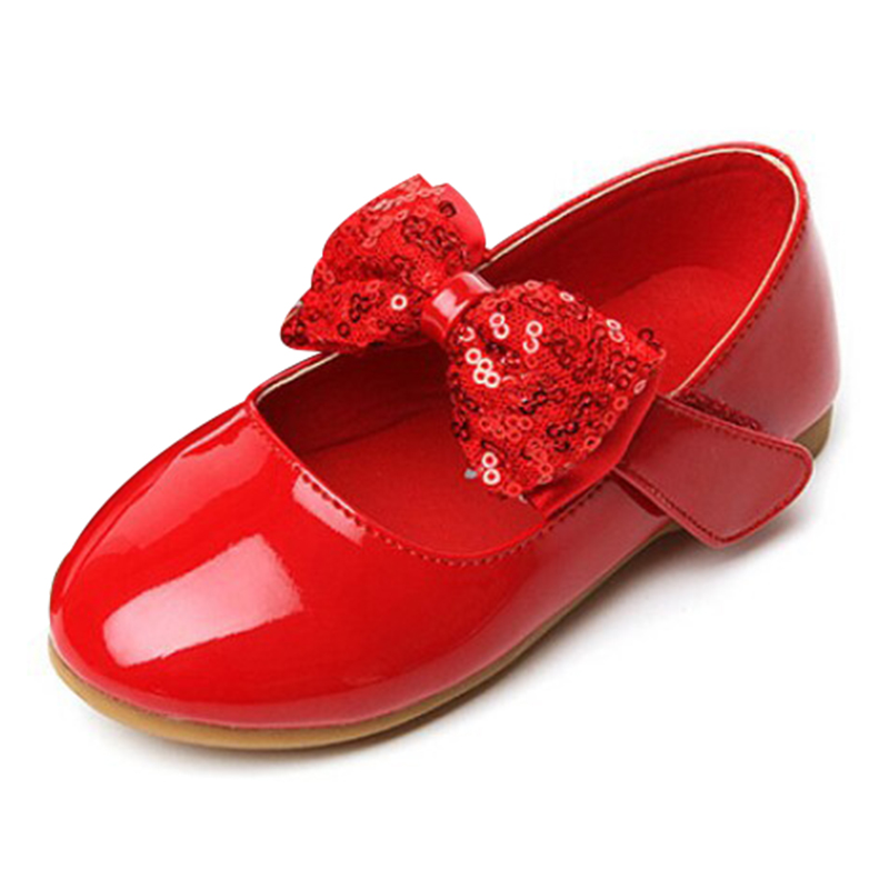 2015new child leather princess bow wedding flower shoes