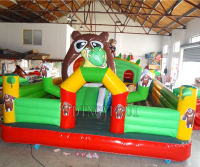 Jungle Inflatable Jumping Fun City ,Bear Kids Park Inflatable bouncer Castle For Sale