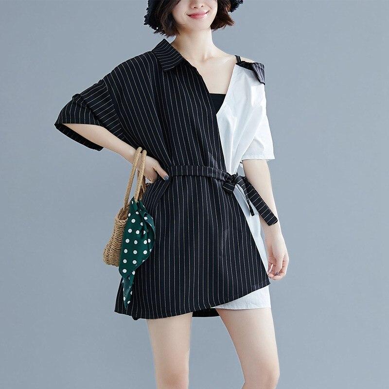 Mferlier Ladies Chic Shirt Dress Turn Down Collar Short Sleeve Panelled Stripe Patchwork Sashes Black White Women Striped Dress