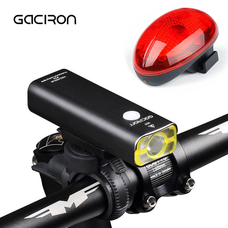 GACIRON V9C-400 USB Rechargeable Bicycle Light 400 Lumens Waterproof MTB Bike Cycling Front Torch Lights With Tail Light W04 gaciron v9d cycling front lights bike cree l2 led usb rechargeable bicycle lights with w05 rear light taillight