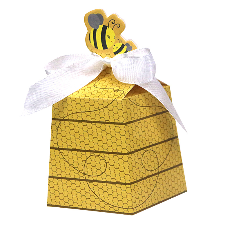 Simla Decor (With Ribbon)12pcs/Lot Party Favor Cartoon Bee Paper Candy Box Kids Birthday Party Decor Baby Shower Gifts Supplies