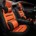 Estilo 3D tampa de assento do carro para Ford Explorer Fiesta foco fusão Mondeo Ecosport Kuga borda, Couro de fibra, Carro de cobre
