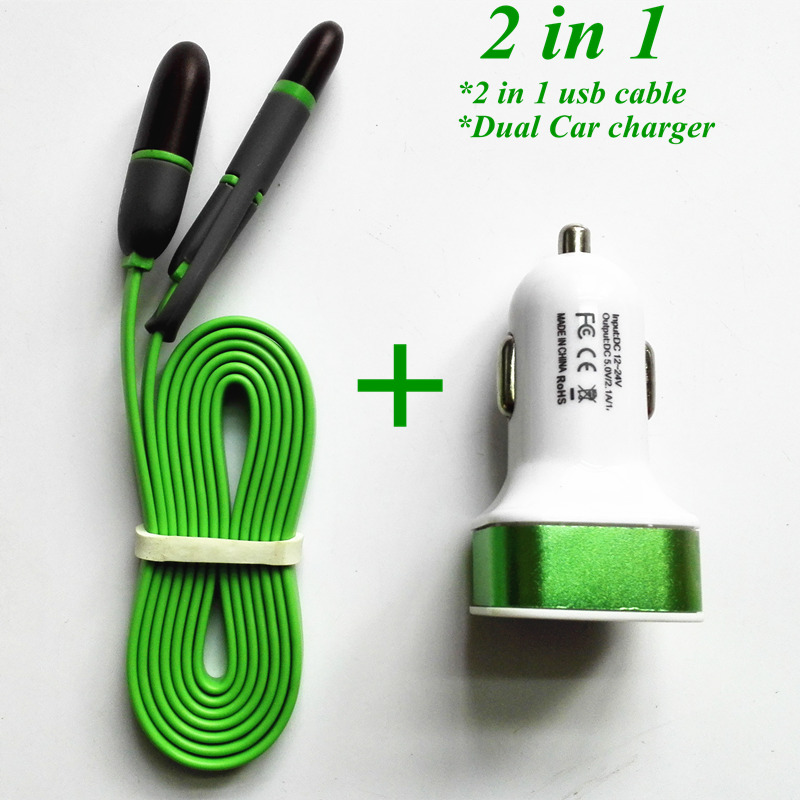 2 in 1 USB Data Cable +12V 2.1A 2 Port USB Car charger Adapter for Samsung xiaomi redmi/for iphone 5s 6s ipad mini