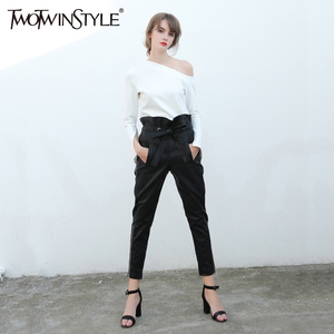 Image 4 - TWOTWINSTYLE Trousers for Women PU leather Female Pencil Pants Ruffle Lace up High Waist Fashion Clothes Large Big Sizes Autumn