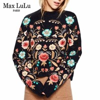 Max LuLu 3d Floral Winter Embroidery Tops Women's Off Shoulder Sweater Wool Pull Woman Christmas Jumper Ladies Knitted Pullover