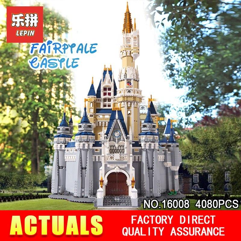 LEPIN 16008 Creatore della Serie Cenerentola Principessa Castello Città Compatibile 71040 Modello di Set di Blocco di Costruzione Per Bambini Architettura Giocattoli