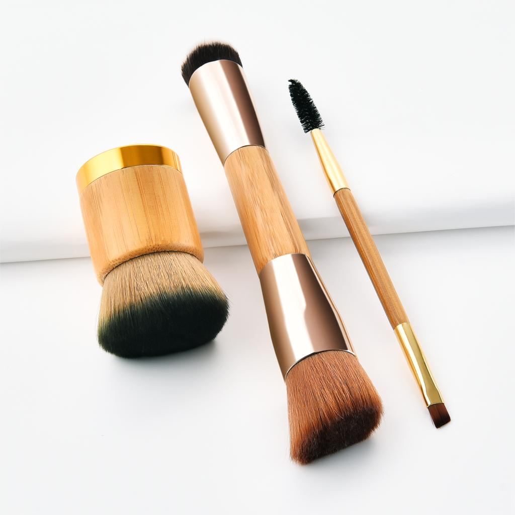GUJHUI Wooden Handle Double ended 3pcs Makeup Brushes Set Eyebrow Brush Angled Foundation Brush Maquiagem Beauty Tools Makeup in Eye Shadow Applicator from Beauty Health