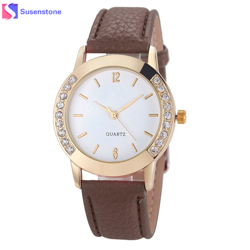 2017 New Fashion Geneva Watch Women Diamond Analog PU Leather Quartz Wrist Watch Casual Watches Clock relogio feminino Reloj new fashion unisex women wristwatch quartz watch sports casual silicone reloj gifts relogio feminino clock digital watch orange