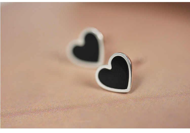 925 Sterling Zilver Engagement Enamel Hart Stud Oorbellen Voor Vrouwen Sterling-Zilver-Sieraden Oorbel Bruiloft