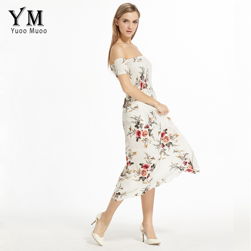 YuooMuoo New European Fashion Women Summer Maxi Dress Brand Off Shoulder  Beach Dress Women Chiffon Long Boho Dress Vestidos -in Dresses from Women s  ... 6e68821e51ca