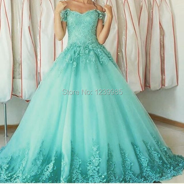 414d9ccc0b1 Beautiful Sweet Dress For 15 16 Mint Blue Tulle Ball Gown Short Sleeves Sweetheart  Appliques Lace Quinceanera Dresses 2018