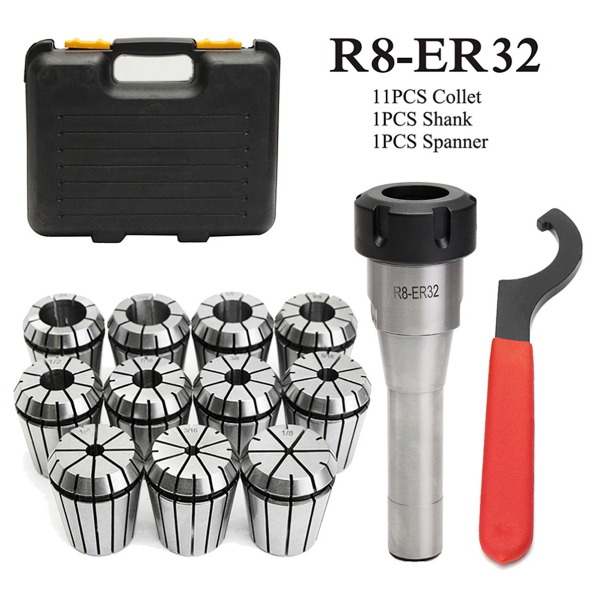 New 11pcs ER32 Spring Collet Set 3mm-19mm + R8-ER32 7/16 Collet Chuck + Holder Wrench цена