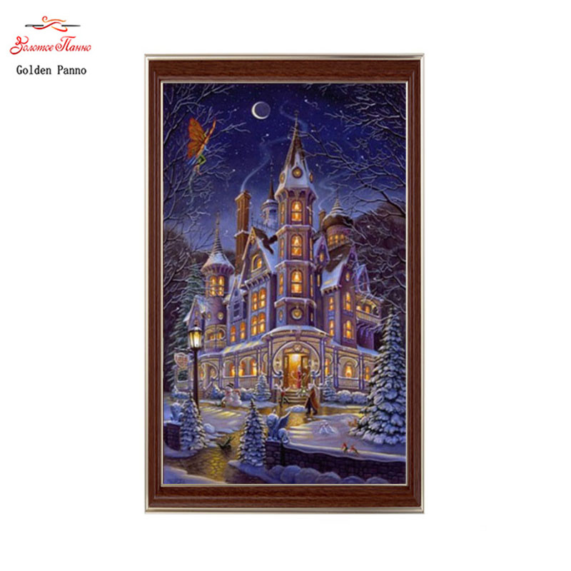 Golden panno Needlework DIY DMC Cross stitch Sets For Embroidery kit 14ct unprinted cotton thread night