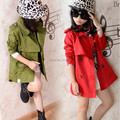 621# children girls autumn medium-long double breasted trench child outerwear clothes
