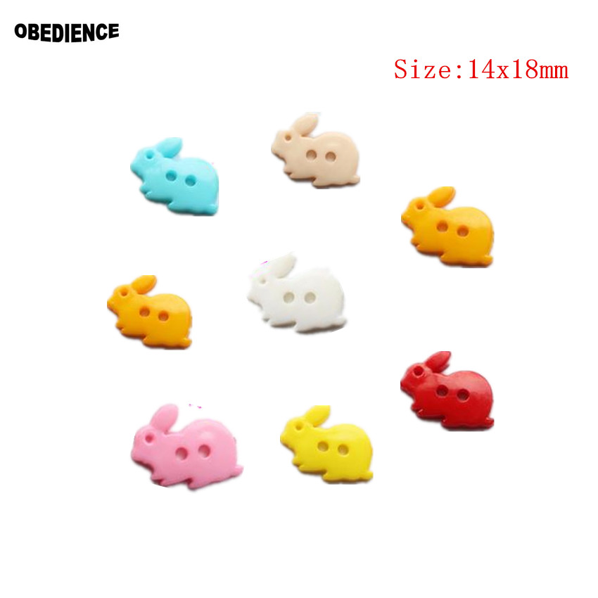OBEDIENCE 100pcs 14*18MM 2Hole Bunny Shape Wooden Buttons,Handmade Sewing Scrapbooking Craft DIY Decoration Cloth Toy