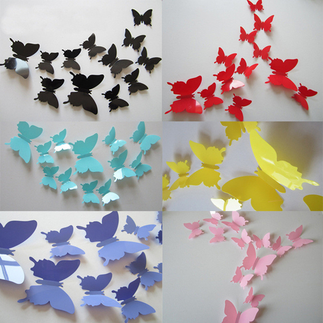 12Pcs Lot Vinyl Magnetic 3D Butterfly For Wall Art Decal Removable Christmas Wedding Decoration DIY