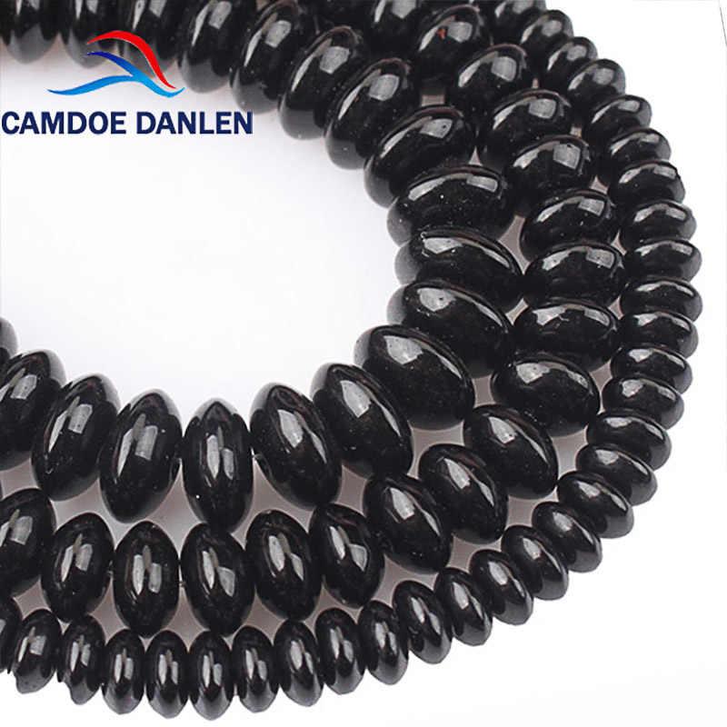 Natürliche Schwarze Achat Rondelle Spacer Perlen Abacus Onyx Lose Perlen Für Armbänder Halskette Schmuck Machen Zubehör 6 8 10mm