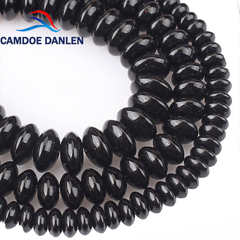 Natural Black Agate Rondelle Spacer Beads Abacus Onyx Loose Beads For Bracelets Necklace Jewelry Making Accessories 6 8 10mm