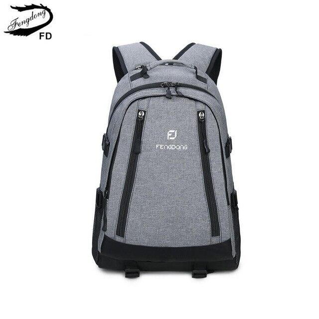 FengDong grey school backpack men school bag high school backpacks ...