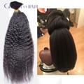 Stock!brazilian human crochet braiding hair bulk kinky straight virgin human hair bulk hair brazilian virgin hair black color