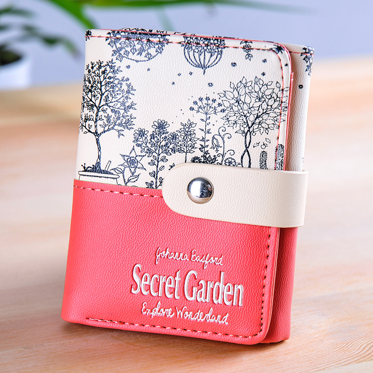 Fashion Women Wallets Soft PU Leather Hasp Short Coin Purse Girls Money Bags Flower Pattern Lady Clutch Wallet Cards ID Holder