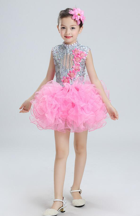 Балетное танцевальное платье с блестками для девочек; Детские вечерние платья для сальсы; платье на свадьбу; детское платье-пачка в стиле джаз - Цвет: Розовый