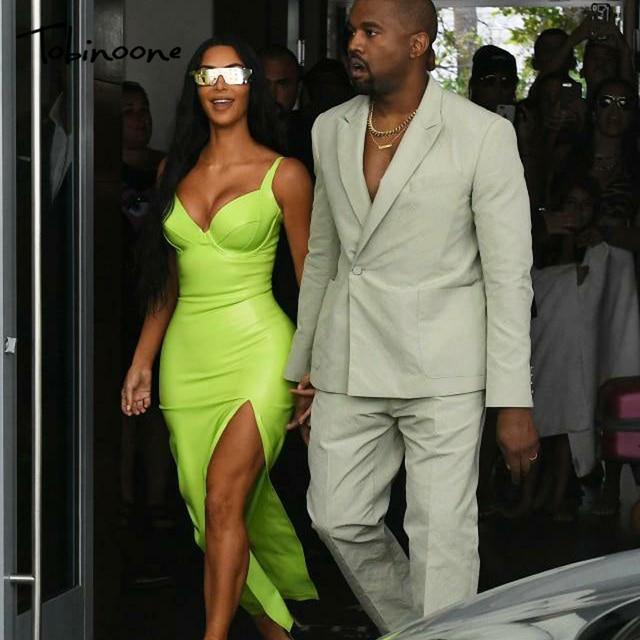 3a16af968a6 Tobinoone Kim Kardashian vestido de verano para mujer Sexy sin espalda club  nocturno fiesta Maxi vestido