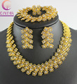 New Arrival Luxury Thailand Gold Plated Clear Crystal Earring Necklace Bracelet Ring For Women Engagement Jewelry Sets