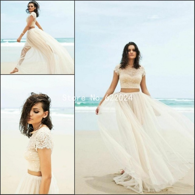 2015 two piece wedding dress with cap sleeve illusion neckline sexy 2015 two piece wedding dress with cap sleeve illusion neckline sexy lace beach wedding gowns champagne junglespirit Gallery