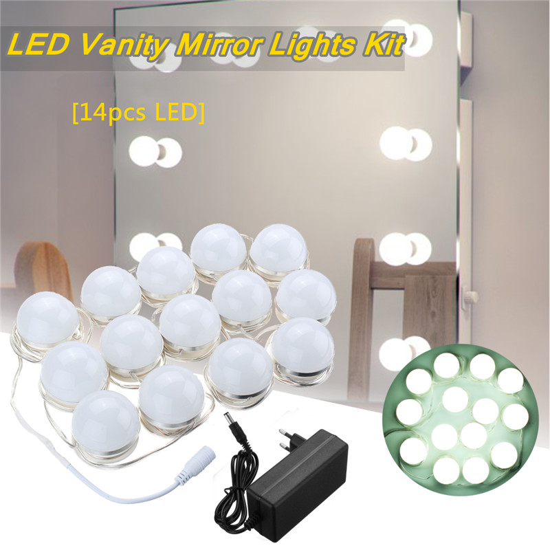 14 Vanity LED Light Bulbs Kit Cool White Hollywood Lamp With Dimmer Power Supply Sticky Tape for Dressing Table Makeup Mirror hollywood style makeup mirror vanity led light bulb kit for dressing table with dimmer power supply plug in linkable ac 100 240v