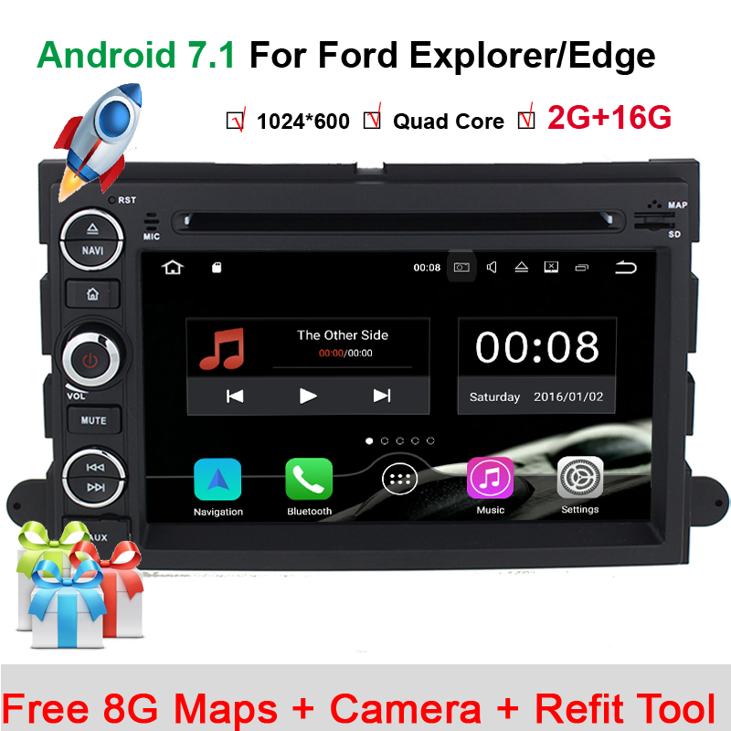 HIFIF Android 7.1 1024*600 Car DVD For Ford F150 Mustang Expedition Explorer Fusion 2006 2007 2009 Quad Core GPS Navigation