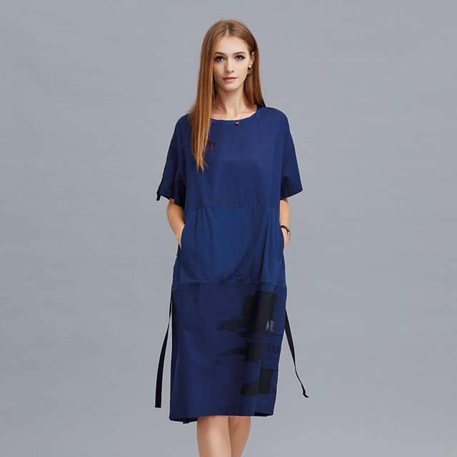 8261d5b7bf9 2018Summer Fashion Ladies printed lantern dress Cocoon dress bud dress with  bow female casual vestido plus