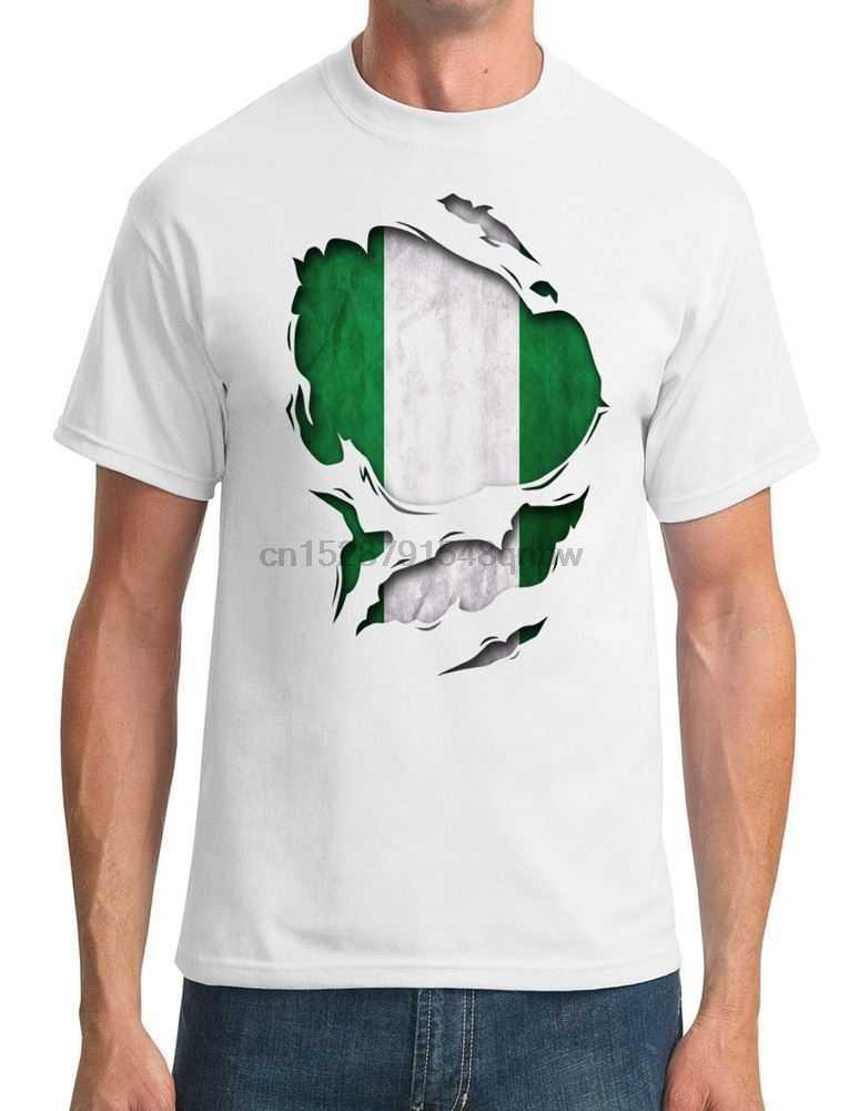 ניגריה Ripped אפקט תחת חולצה-Mens חולצה